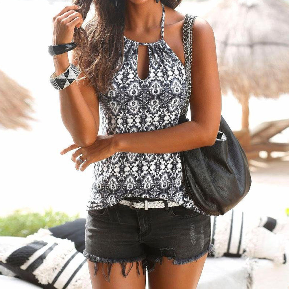 feitong Womens Vintage Summer Sexy Strappy Vest Top Sleeveless Retro Printed Shirt Blouse Casual Beach Tank Tops Female#1976