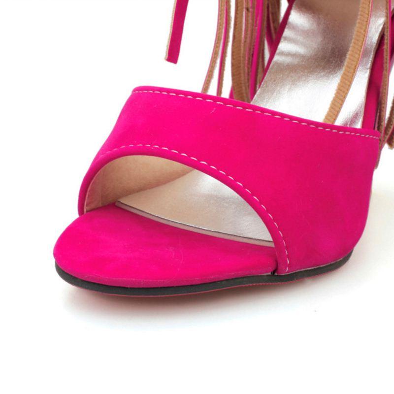 Zapatos Sujmmer Sandalias Abierta Negro Borlas Damas Colores Fiesta wOZuiPXkT