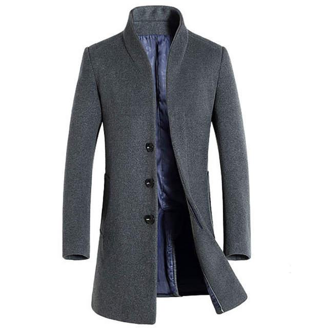 Online Shop Thick Wool Coat Men 2017 Winter Brand Wool Blends