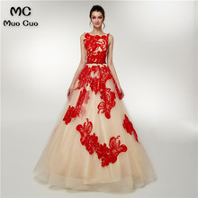 2018 Elegant A-Line Prom dresses Long with Red Appliques Vestidos de fiesta  dress for 9b915f31842f