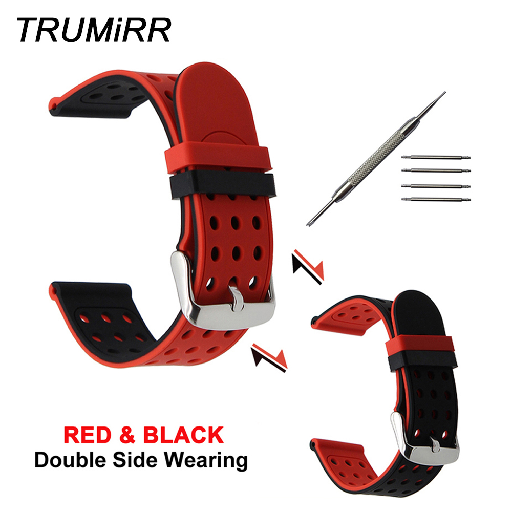 20mm 22mm 24mm Silicone Rubber Watchband Double Side Wearing Strap for Diesel Men Women Watch Band Wrist Belt Bracelet Black Red silicone rubber watch band 10mm x 24mm 12mm x 22mm convex mouth watchband safety clasp strap wrist loop belt bracelet black