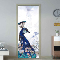 Beautiful Retro Peacock Painting Creative 3d Door Stickers Personality Wooden Door Home Decoration Wall Stickers