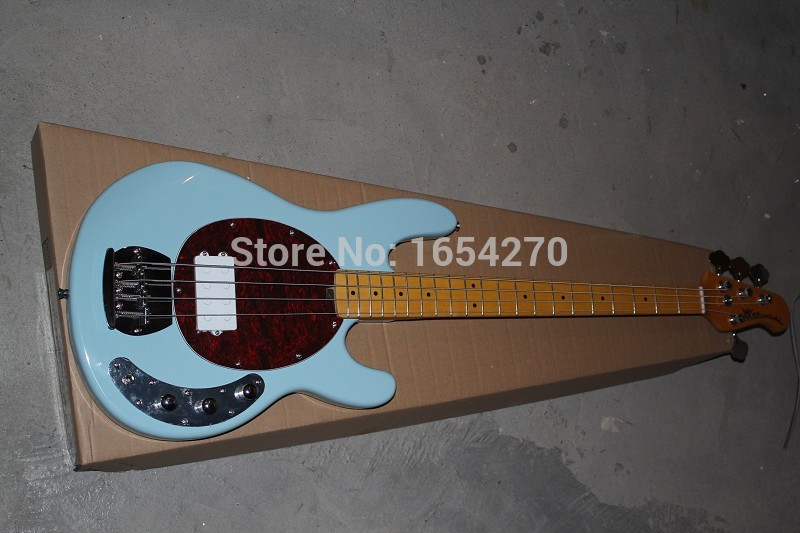 Free Shipping  2015 New High Quality Arrival Music Man Stingray 4 string Electric Bass Guitar in sky blue  in stock  151112