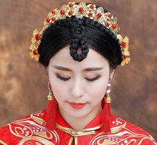 New beautiful Flower Costume Bride Chinese style Gold Hair  Comb Tiaras Wedding jewelry Wedding hair accessories цена 2017