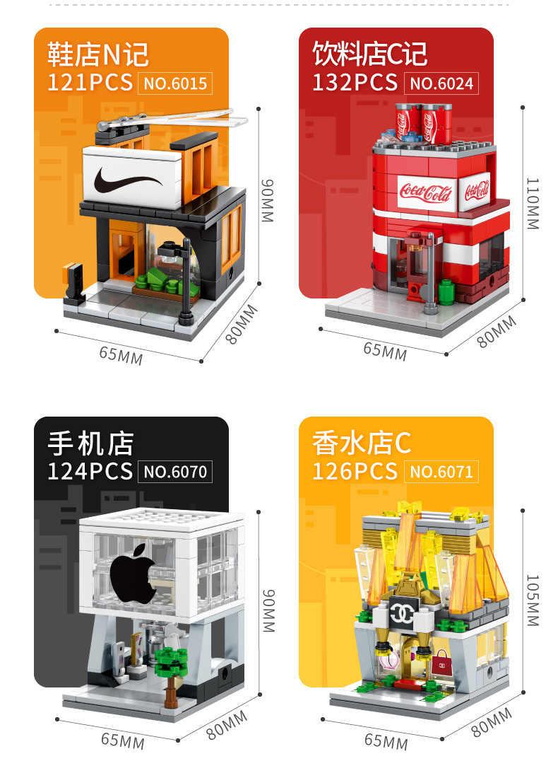 МОК мини городской уличной еды, конфет пиццы Кофейня книжный магазин fit фигурки строительные блоки кирпичи детские развивающие игрушки