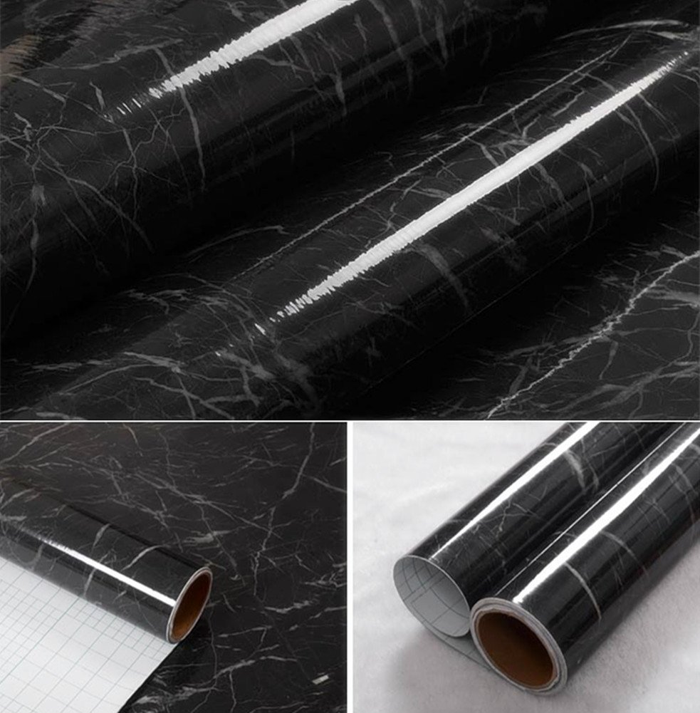 30 200cm black granite marble gloss self adhesive furniture vinyl decorative film counter. Black Bedroom Furniture Sets. Home Design Ideas