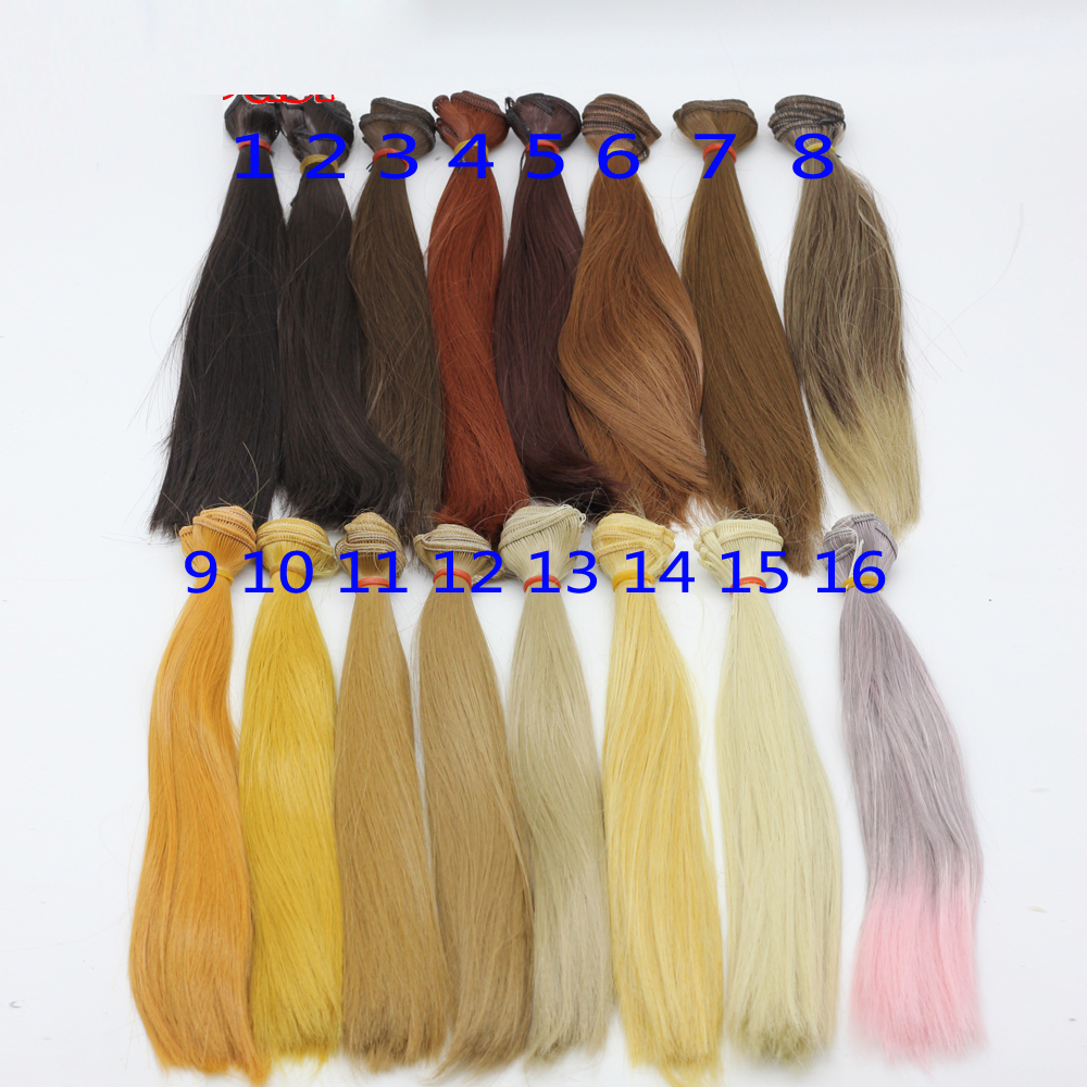 1pcs 25cm*100CM Straight Wig Hair Black Brown Khaki Coffee Color Refires Bjd DIT Wig Hair For 1/3 1/4 Dolls Hair Ep018