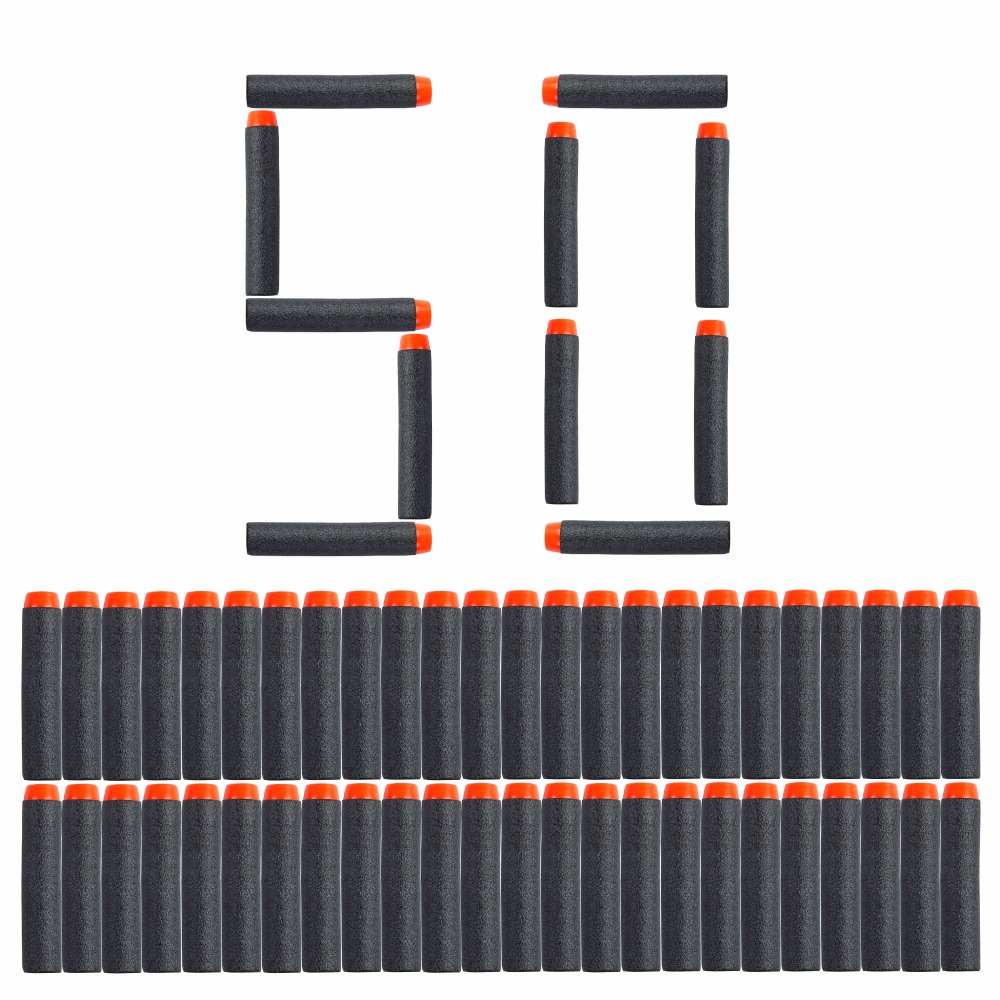 50PCS For Nerf Bullets Soft Hollow Hole Head 7.2cm Refill Darts Toy Gun Black Bullets For Nerf Series Blasters Kid Children Gift
