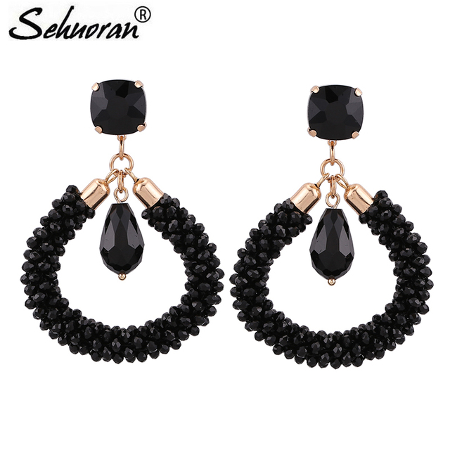 Sehuoran New Design Drop Earrings For Woman Crystal Facted Beads Handmade Earring Long Christmas