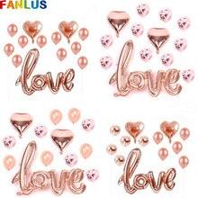 13pcs/Set Rose Gold Aluminum Foil LOVE Balloons Happy Wedding & Engagement Party Confetti Balloon Anniversaire Gender Reveal