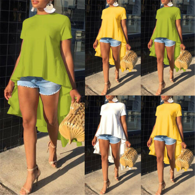 New Women's Casual Loose Short Sleeve Tunic Top Long Tail Shirt Blouse Plus Size 3