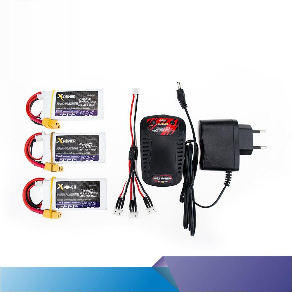 3 PCS Xpower RC Drone Bateria 7.4 V 1500 mAh XT60/T li-po 2 S Batteries avec Chargeur Rapide 3 en Câble Pour Hélicoptères Batterie VS VOK