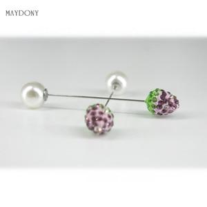 Image 2 - SP129 12 Pz/set di Modo 10mm Shambara Sfera di Cristallo Spilla Pin Sciarpa Musulmana del Hijab pin Pin Sciarpa Clip Wedding Pin Per donne