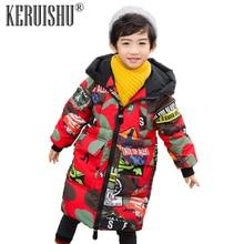 Keruishu Winter Jacket For Boy Coats Boys Cartoon Warm Snowsuit Outerwear Kids Baby Zipper Thicken Hooded child clothes Parka