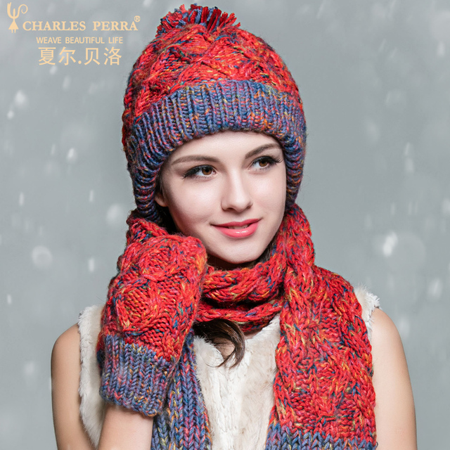 Charles Perra Women Winter Hats Scarves Gloves Three Piece Sets