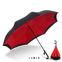 Reverse Umbrella Windproof Large Umbrella Auto Close Double Layer Inverted Umbrella Female Male Car Umbrellas
