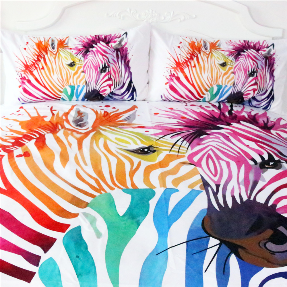 Illucity colorful zebra children duvet/doona cover set king queen double full twin single size bed linen set