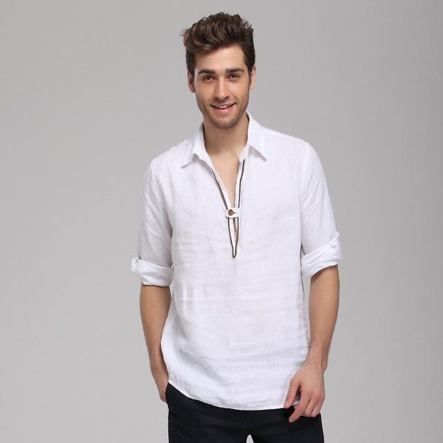 ce18250b Summer cotton linen shirt men half sleeve retro thin slim men's casual shirt  unique design one button fashion shirts mens camisa