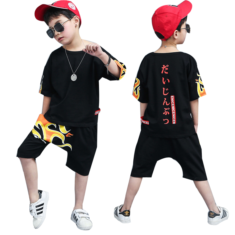 2018 New Summer baby Childrens clothing sets Hip Hop Dance kids Sports Suit boys clothes set Fashion costume T-shirts+shorts
