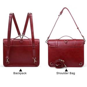 Image 4 - ECOSUSI 15.3 Inch PU Leather Bags Women Loptop Bags Retro Messenger Bags Famous Designer Shoulder Bag Hollow School Bag Travel