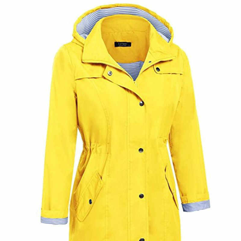 Long Raincoat Outdoor Overalls Waterproof Womens Raincoat Yellow Rain Coat Impermeable Mujer Para Lluvia Cover Rain Gear 3DYYJ01