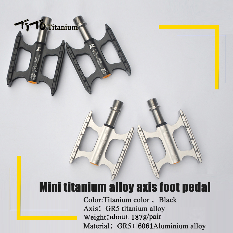 TiTo Mini Titanium Alloy Axis Foot Bike Pedals Cycling Pedals Foot Outdoor Sport MTB Road Bike Cycling Bicycle Titanium Pedal
