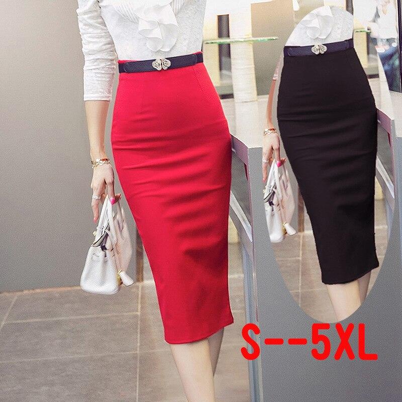 2018 de alta cintura falda de las mujeres falda vendaje elástico negro rojo Midi longitud Slim ropa de trabajo de faldas Plus tamaño S- 5XL
