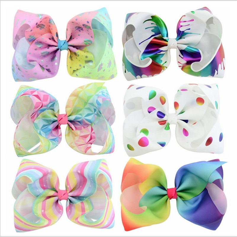 12PCS/LOT 8 Inch Colourful Large Bow Clip Butterfly Polka Dots Rainbow Hairpin Big Hair Clip Handmade Hair Accessories For Girls