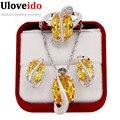 Uloveido Plateado Joyería de La Boda Rhinestone CZ Diamond Establece Amarillo Anillo Colgante Pendientes Anillos Y182