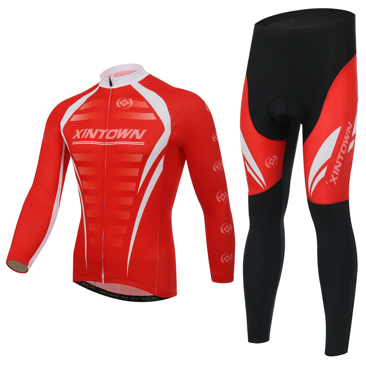 XINTOWN Spring Autumn Long Sleeve Men UV Protect Cycling Jerseys Sets MTB Bike Quick Dry Breathable Riding Jersey Clothing Sets wosawe men s long sleeve cycling jersey sets breathable gel padded mtb tights sportswear for all season cycling clothings