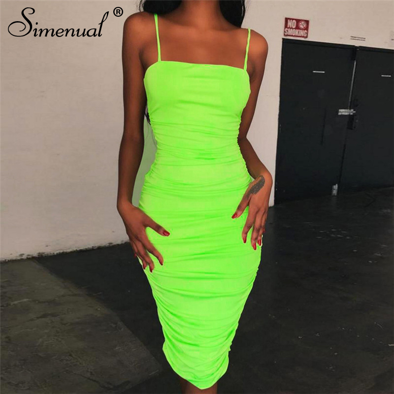 f1949d1eba9 Simenual Strap sleeveless sexy bodycon dress neon color ruched wrapped  chest dress women hot tank shoulder
