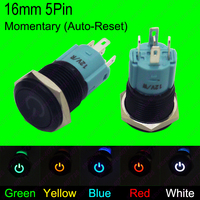 5PCS 16MM Waterproof Momentary Auto Reset Metal Button Switch With LED 12V 24V Indication Car Dash
