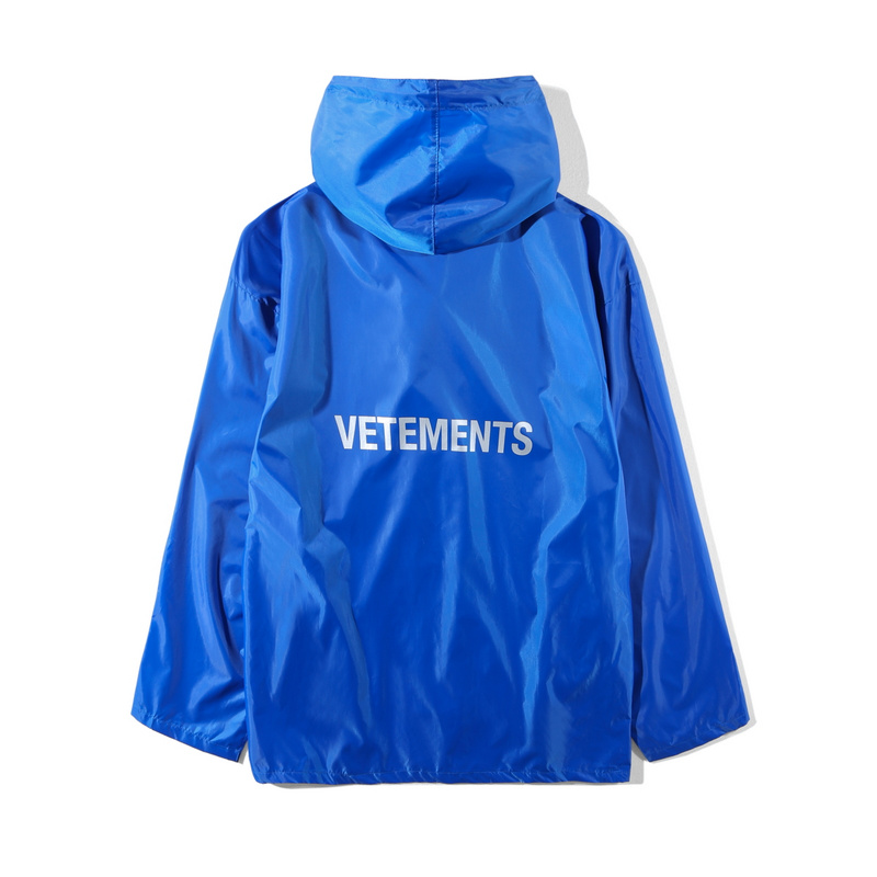 2018 Best Quality VETEMENTS Women Men Long Style Jacket Raincoat quality 1:1 Hiphop Oversized Jackets Coat Blue& Green