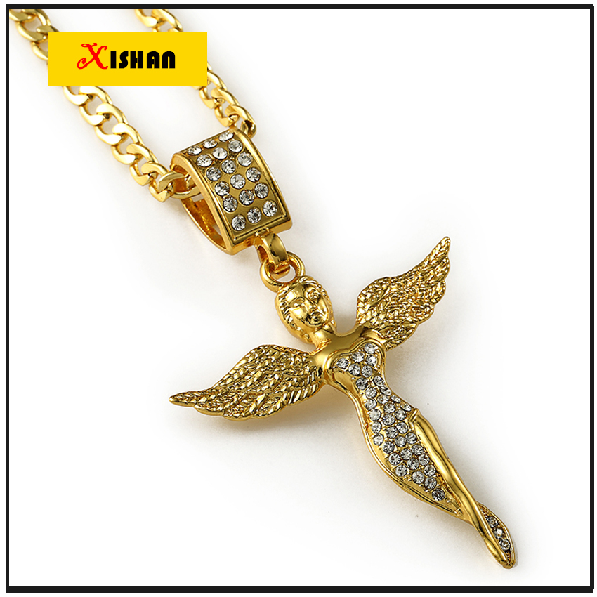 Hot sell mens hip hop jewelry micro angel necklace charm for Bling jewelry coupon code
