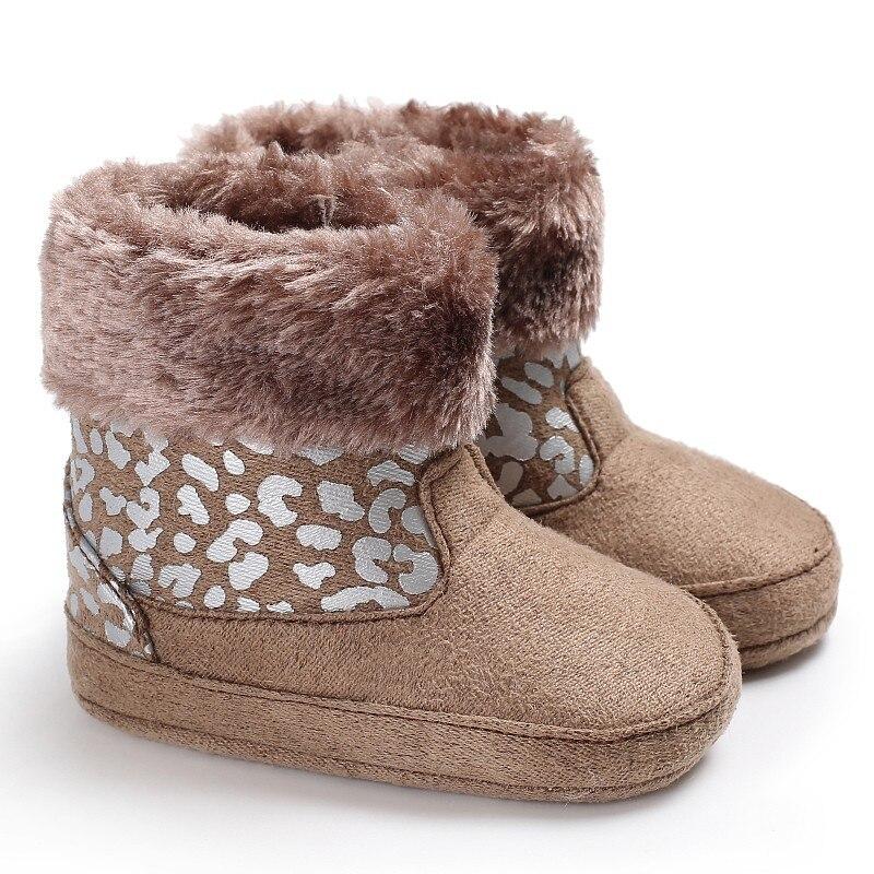 Fashion Winter Baby Kids Leopard Printed First Walker Infant Toddler Newborn Girls Keep Warm Snowfield Fleece Soft Soled Shoes