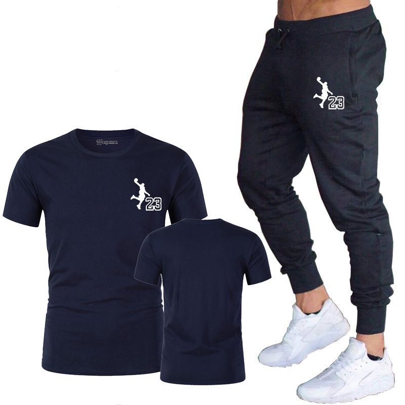 High quality new products Michael Jordan 23 men's T-shirt + pants fashion printing casual sports and fitness pants suit M-2XL