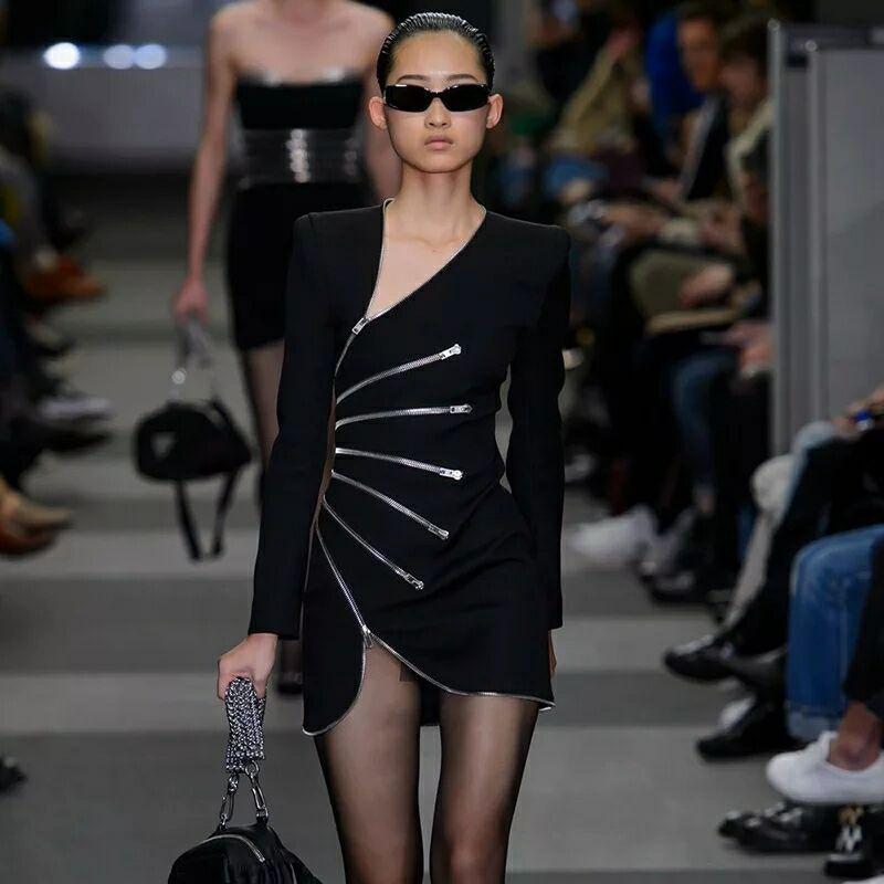 D hiver Mince De Chaude Automne Mode Décoration Noire Zipper Robe Et 2018  Sexy SZxznECq 94707096fe5