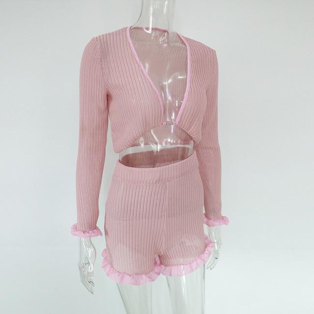 Beyprern Cute Ruffled Mesh Trim Pink Shorts Set Two Piece Women Boho Chiffon Crop Top And High Waist Booty Shorts Set Streetwear 5
