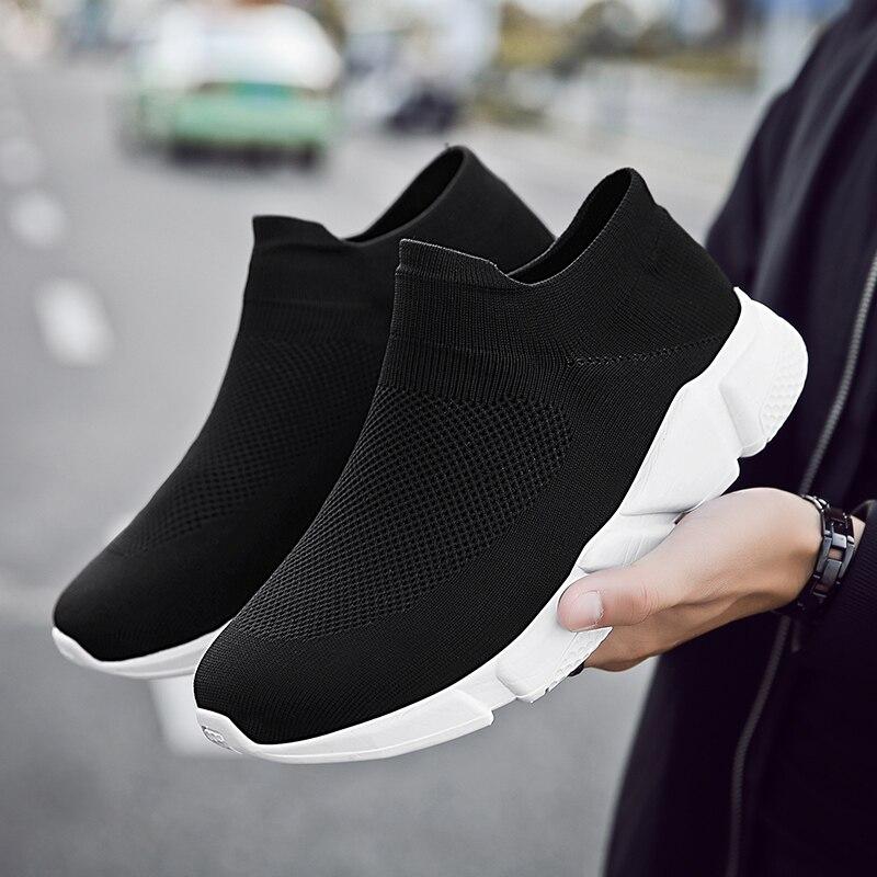 Mode Douce Printemps Sneakers Adulte Casual Chaussures Tendance Chaussettes Noir gris Loisirs Homme Lumière Chauds Respirant De Hommes D'été Ex7CwHq6