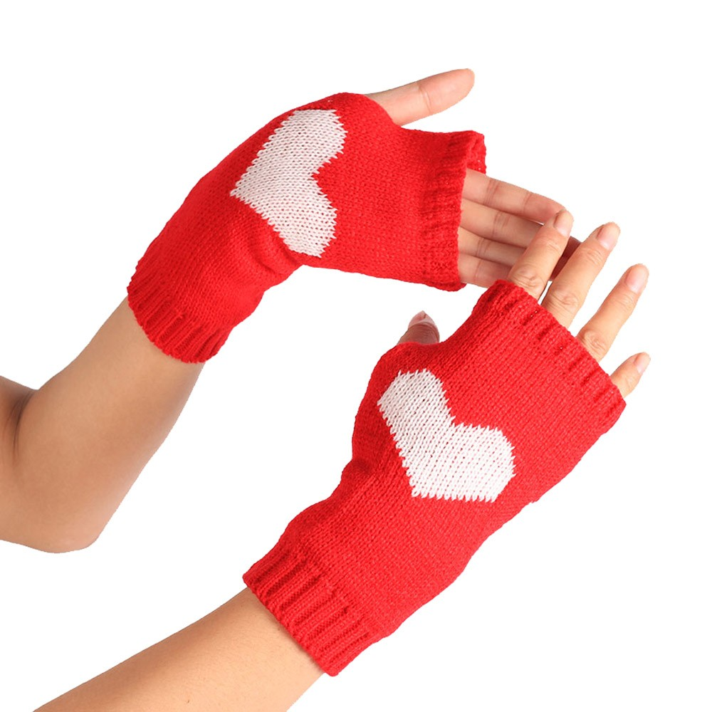 Driving gloves for arthritic hands - Winter Wrist Arm Hand Warmer Knitted Fingerless Driving Gloves Mitten Heart Print Lovely Red Gloves Outdoor