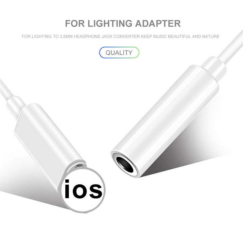 Adapter słuchawek IOS 11 12 dla iPhone 7 8 X wtyczka słuchawkowa kabel żeński do 3.5mm Adapter męski Adapter AUX do błyskawicy