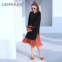 LANMREM 2018 Spring Autumn New Pattern Round Collar Batwing Sleeve Bow Patchwoek Color Chiffon Knee Length