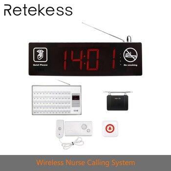 Sistema de Chamada de Enfermeira Sem Fio com 60 reticência Cama Receptor + Double-sided Exibição + botões de Chamada + Repetidor para hospitais
