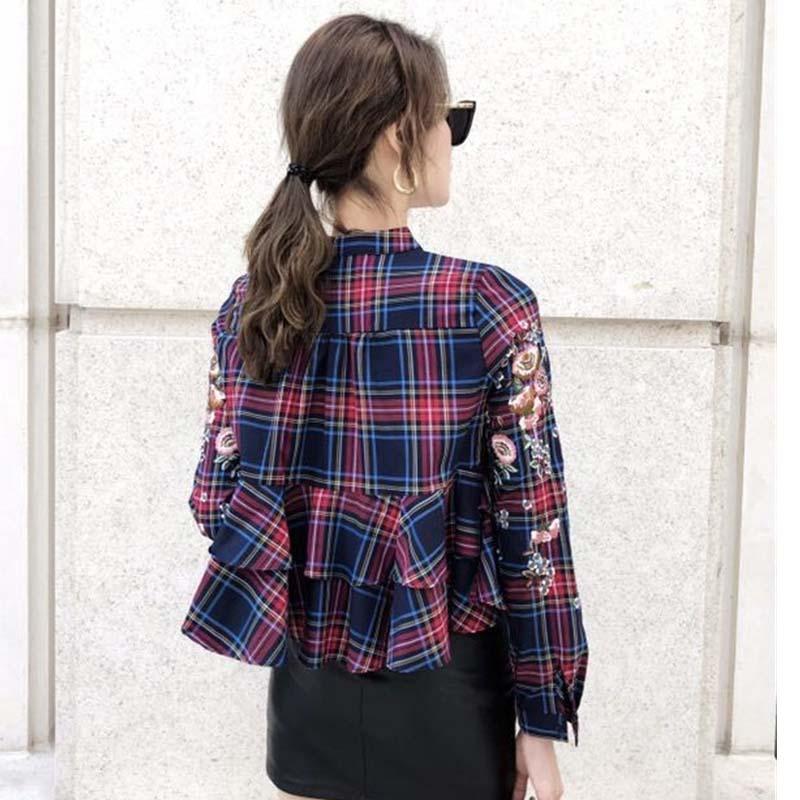 Debout Type Gamme Bleu Nouveau Haut Mode Taille xl T Femme Lattice Printemps Rouge marine Femmes Fit shirt Ruche Slim Haute S Fleur Broderie De Col Le wnOkX0N8P