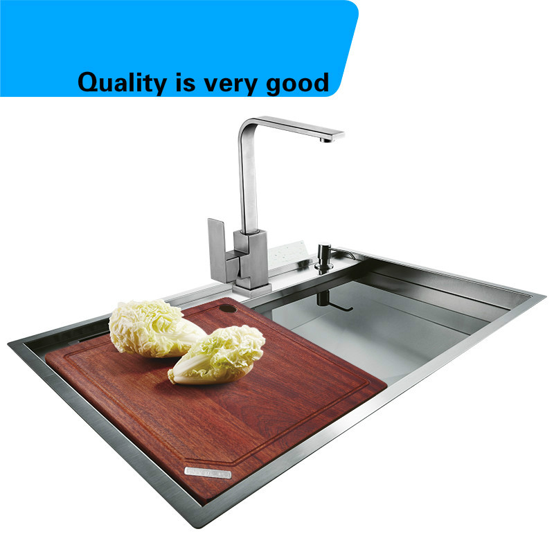 Free shipping Hot sell food-grade 304 stainless steel luxury kitchen manual sink single trough fashion durable 76x49 CM free shipping food grade 304 stainless steel hot sell kitchen sink double trough 0 8 mm thick ordinary 78x43 cm