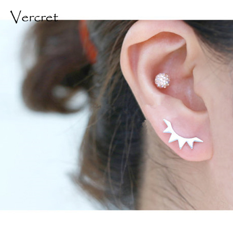 Us 12 82 10 Off Vercret Minimalist Ear Crawler Earrings 925 Silver Jewelry Eyelash Pin Climber For Women Gift In From