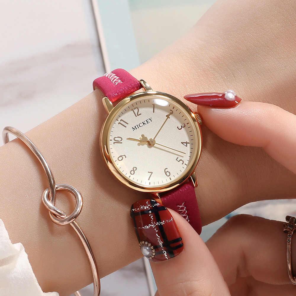 מיקי עכבר בנות אופנה טרנדי אמיתי עור רצועת קוורץ שעון עמיד למים נשים של דיסני המקורי שעונים עגול אדום שעון