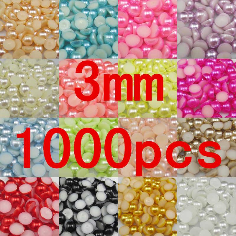 1000 pz/borsa 3mm Pearl Cabochon Posteriore Piana ABS semicerchio ABS Beads Perles Risultati Dei Monili di DIY Cassa Del Telefono Capelli Bow spedizione Gratuita