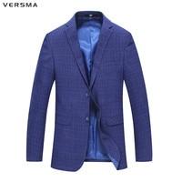 VERSMA Suit Blazer Masculino Plaid Mens Party Wear Suit Jacket Royal Blue Men Blazer Men Styles Casual Mens Blazer Jacket Coat