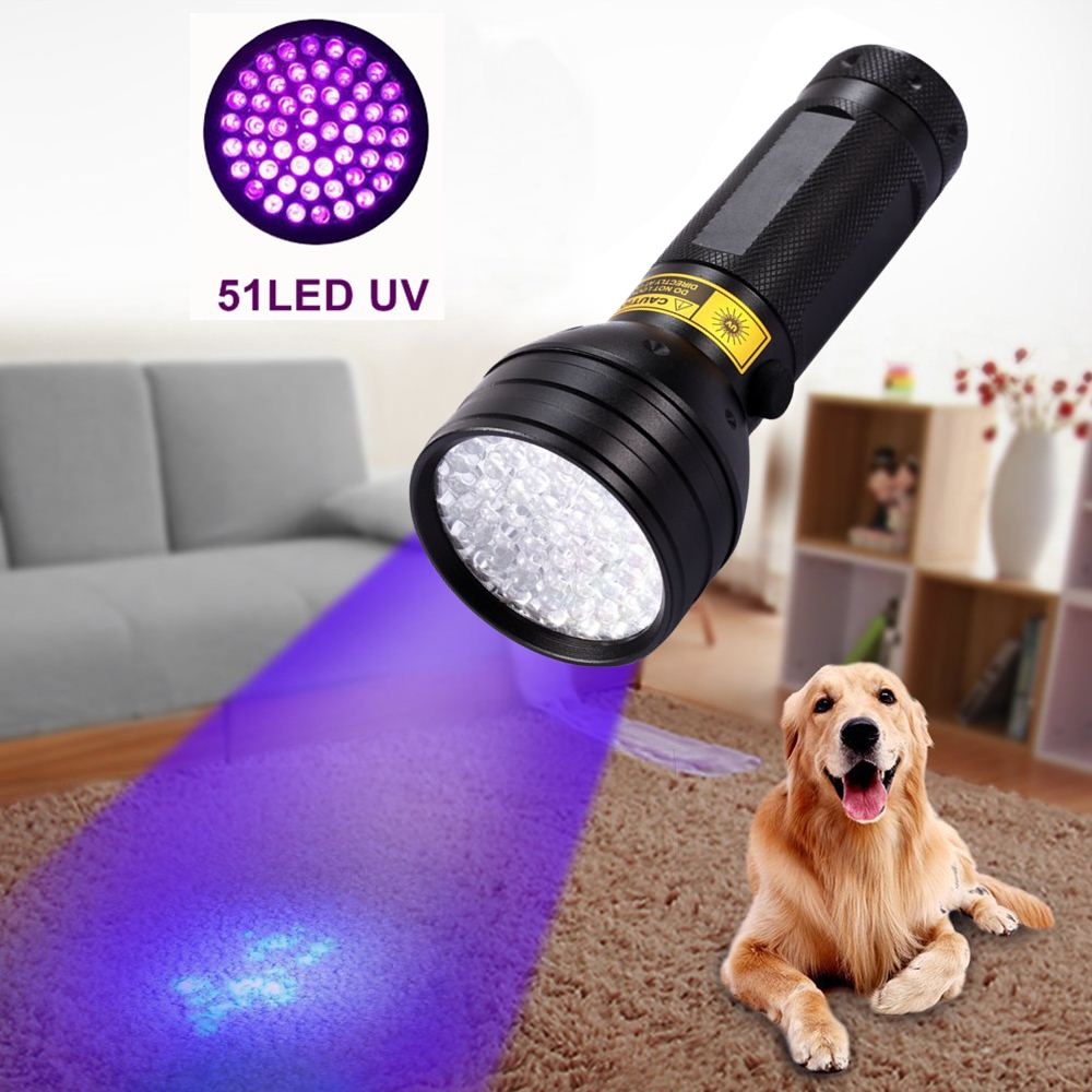 Alonefire 395NM ultraviolet flashlight UV flashlight Ultra Violet 8W 51 LED Flashlight Torch Lamp Light With AA Battery Powered